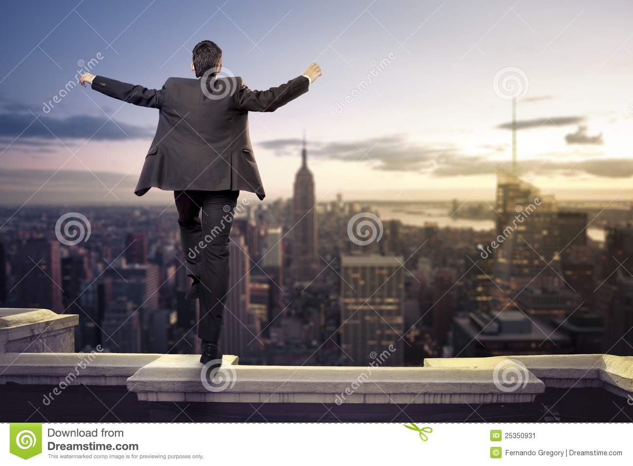 businessman about to jump from a building stock image image of
