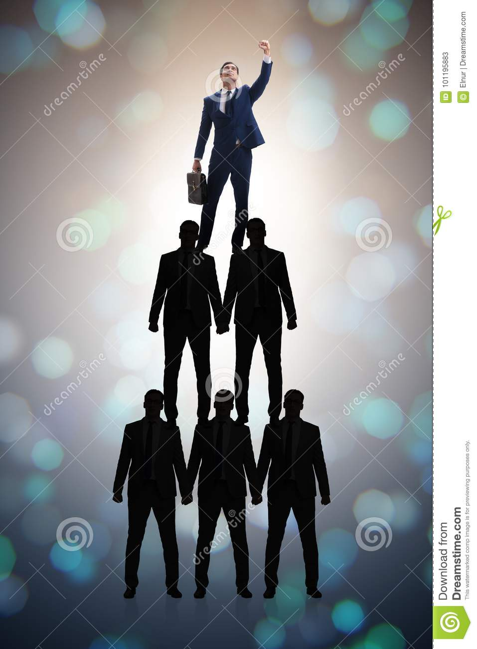 The businessman at the top of organisation chart