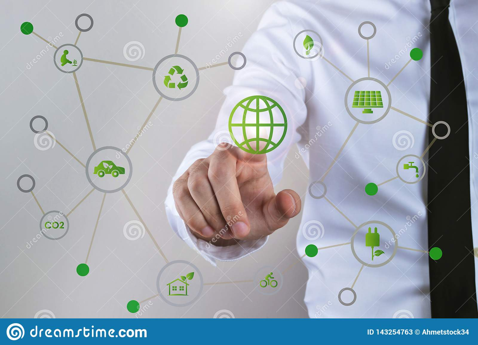 Businessman touch screen concept, energy, technology, power and recycling