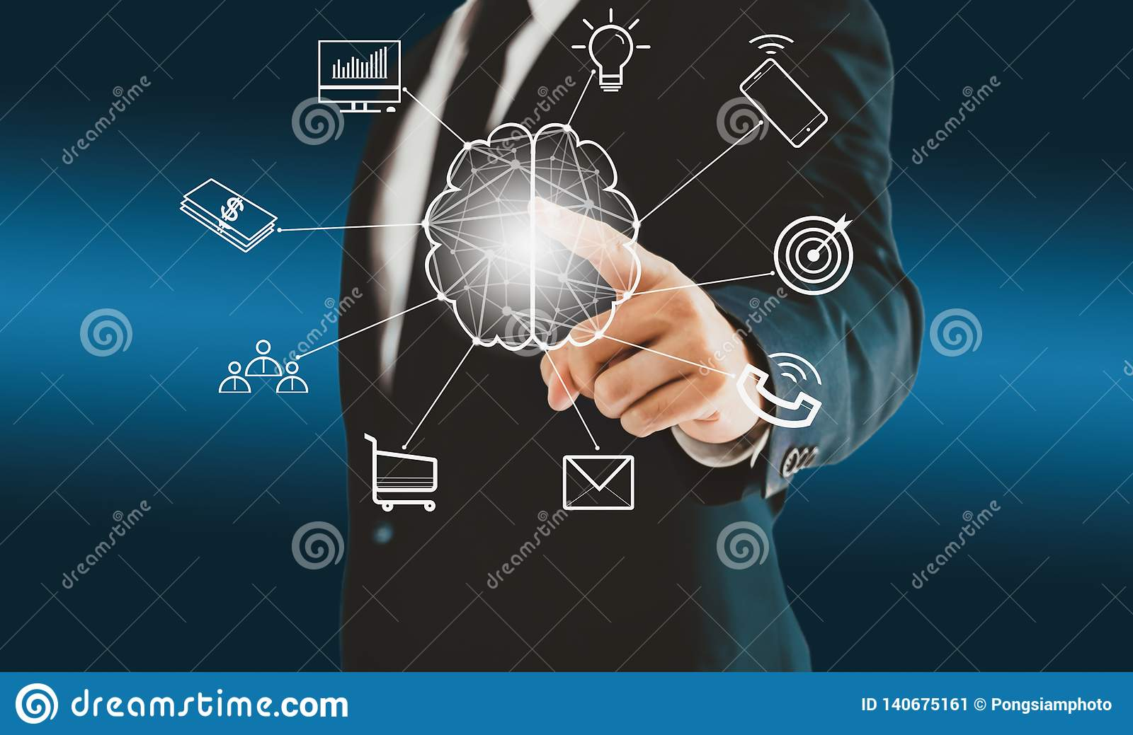 Businessman touching brain virtual button about brainstorming a concept such as teamwork, ideas, plan, and goal