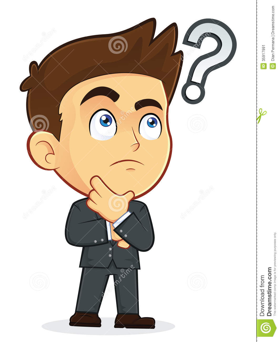 Cartoon Characters Guys : Businessman touching chin with question mark stock image