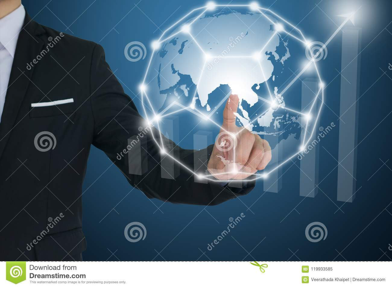 Businessman touching global network and Financial charts showing growing revenue. communication and social media concepts