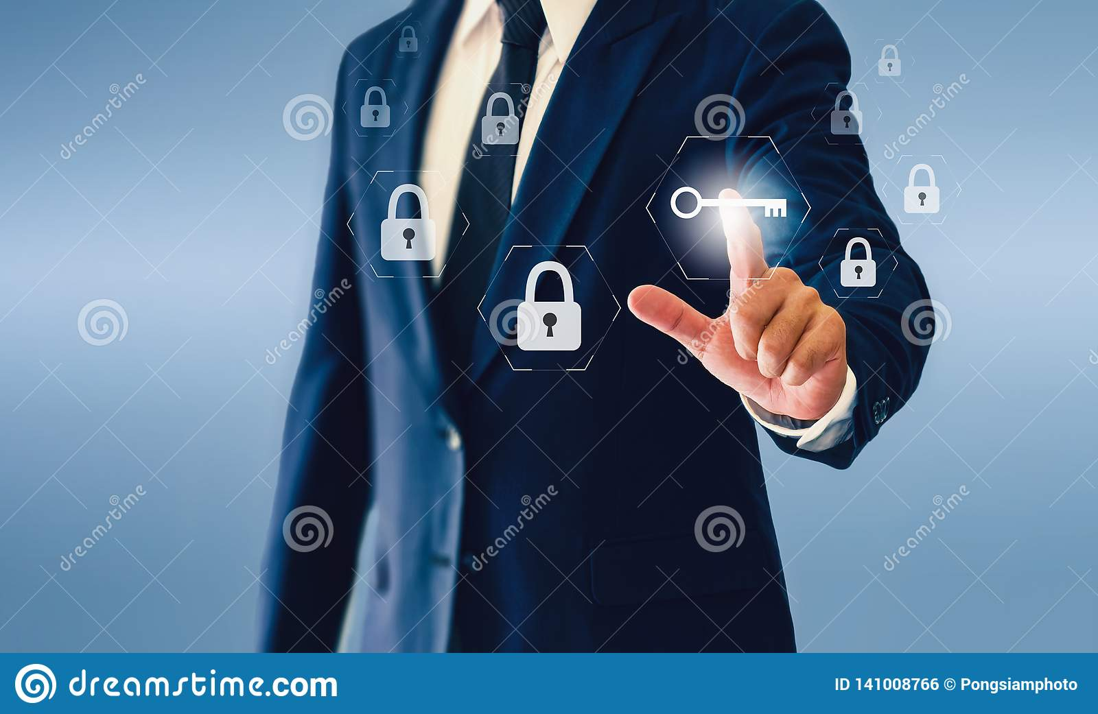 Businessman touching key virtual button.Concept of successful business or security.