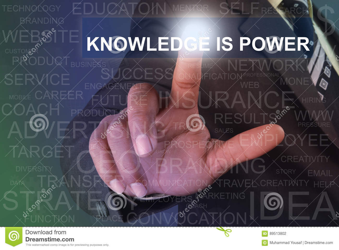 Businessman Touching Knowledge Is Power Button On Virtual Screen