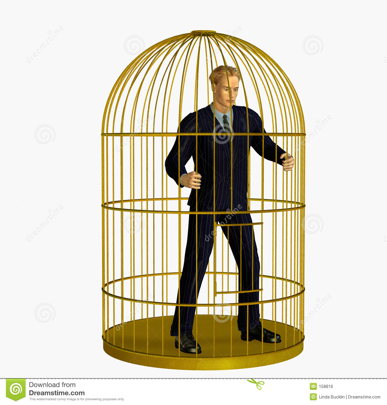 Businessman Trapped in Cage - includes clipping path