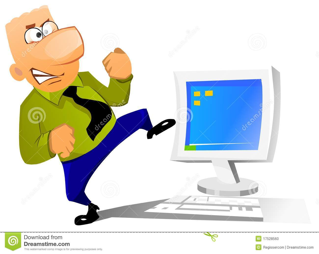 Businessman Trying To Break His Computer Stock Photo