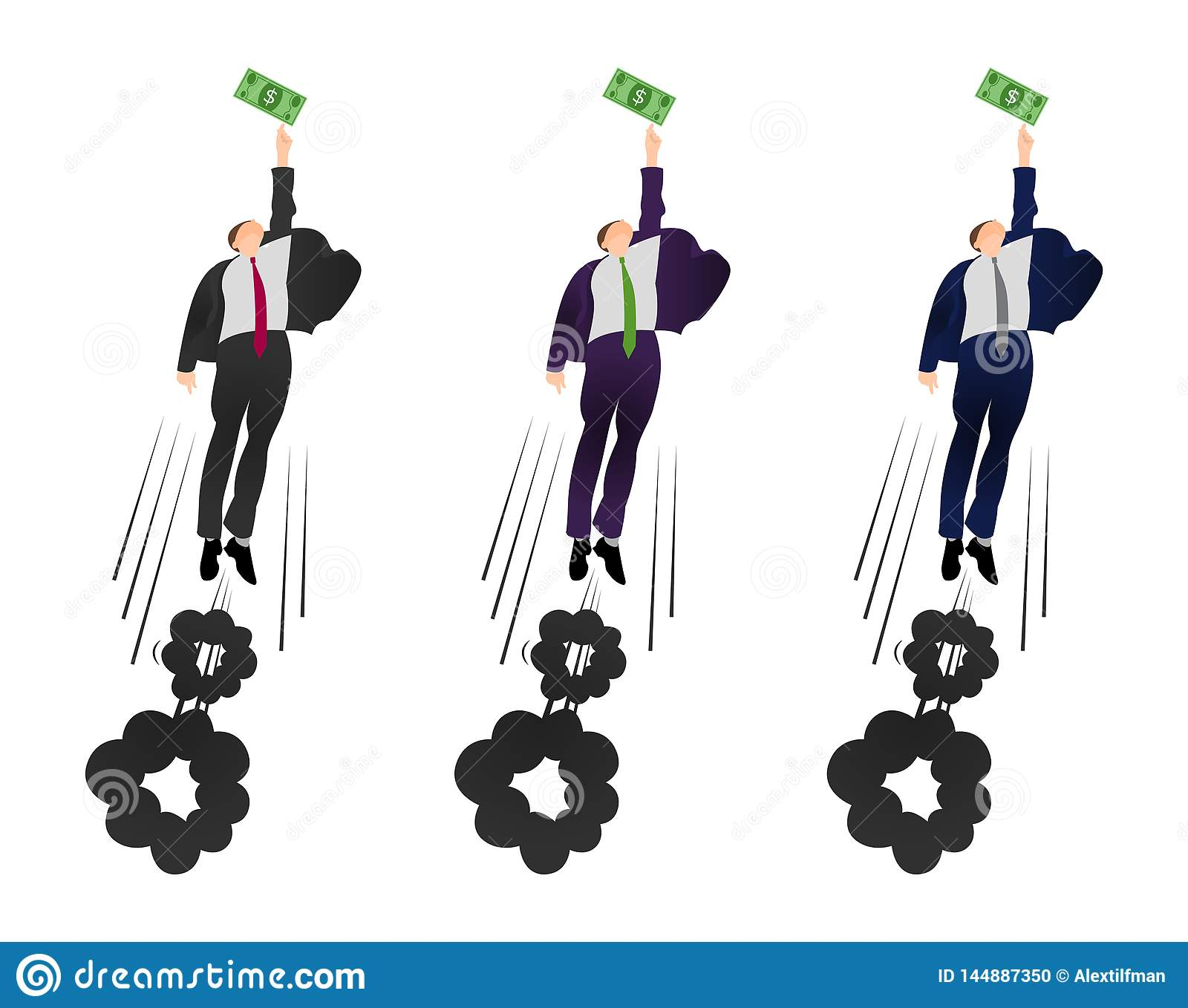 Illustration of  vector flat businessman trying to get a dollar. Being motivated by money. Earning much more money. Pursuit of mon