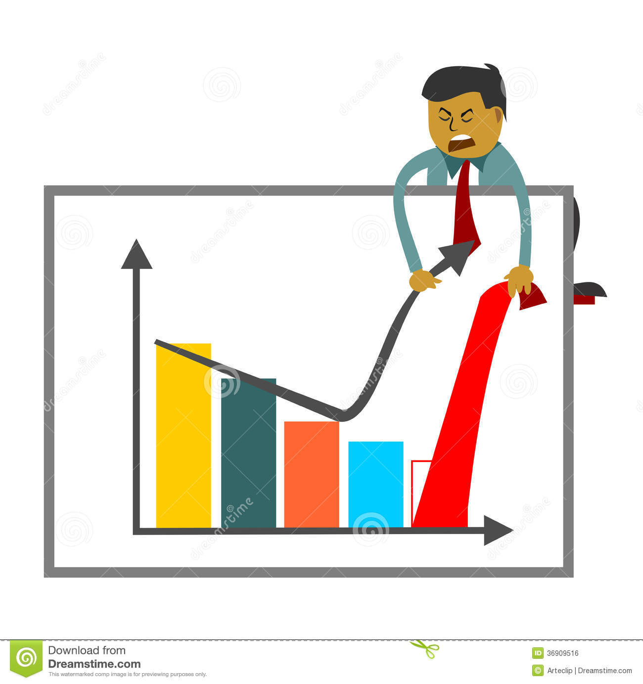businessman trying to increase sales figures pulling off graph upward