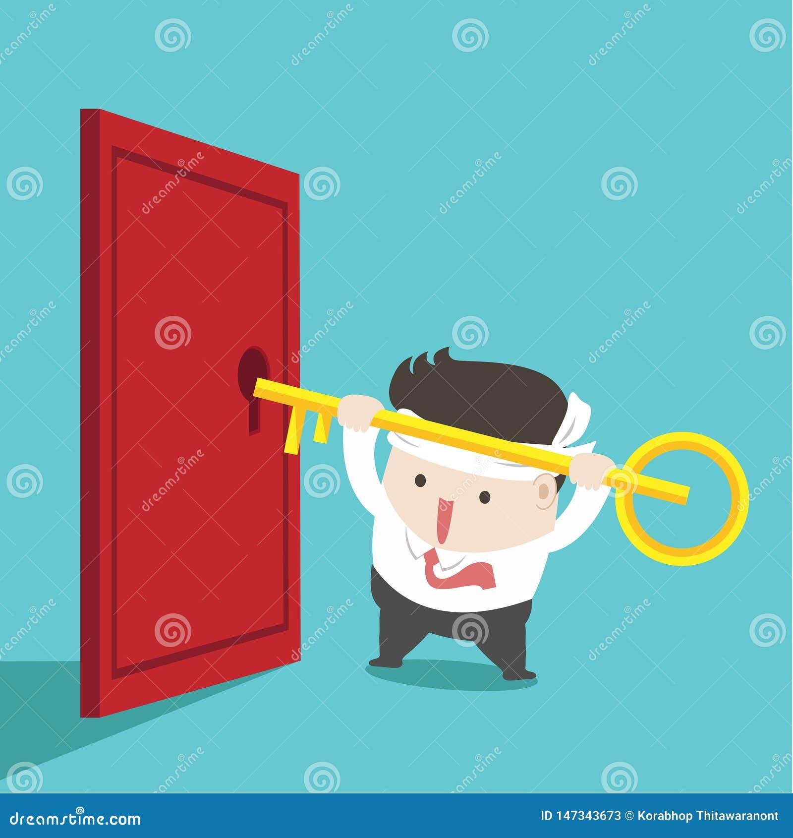 The businessman unlock the door in green background.
