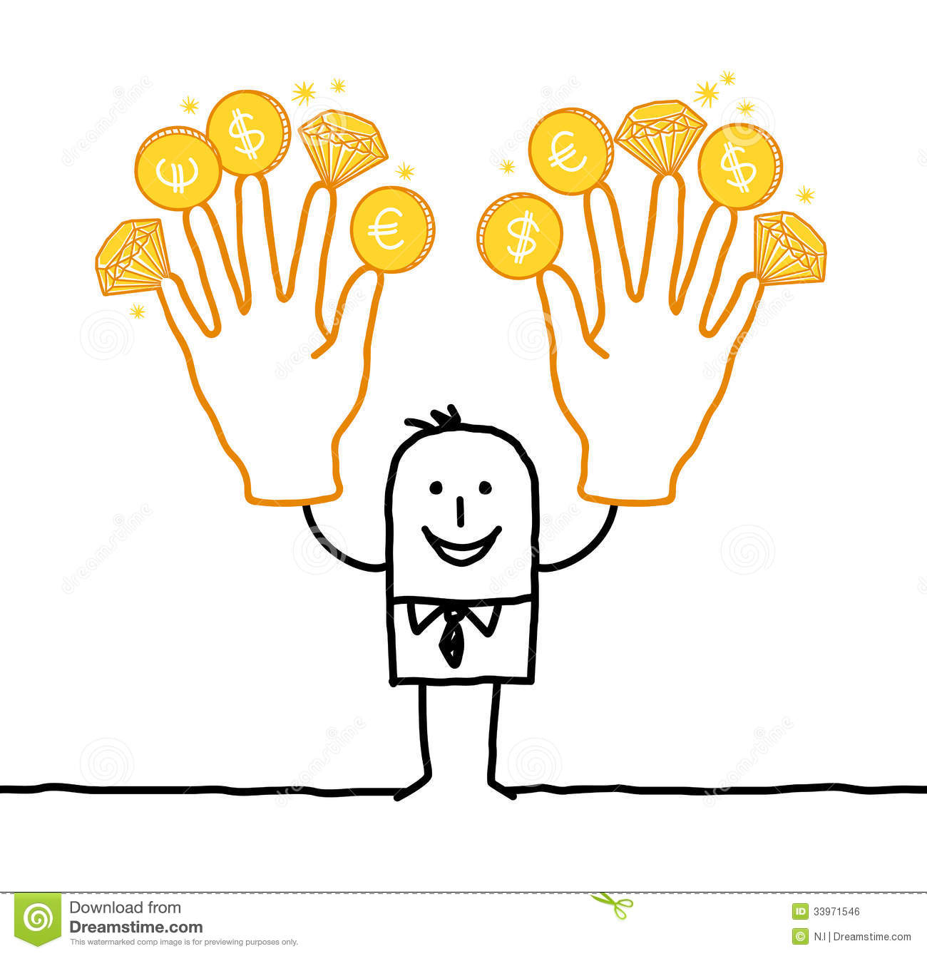 Businessman with two big golden hands