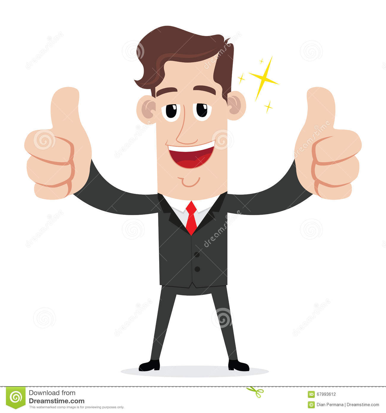 Businessman With Two Thumbs Up Gesture Stock Vector ...