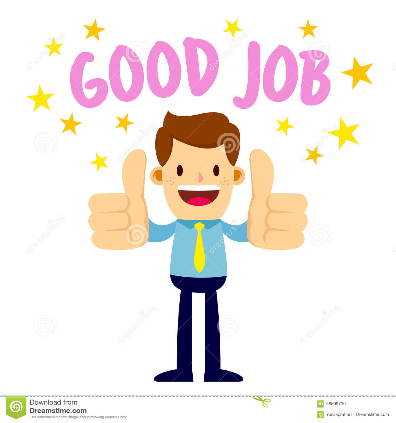 businessman with two thumbs up saying good job stock vector