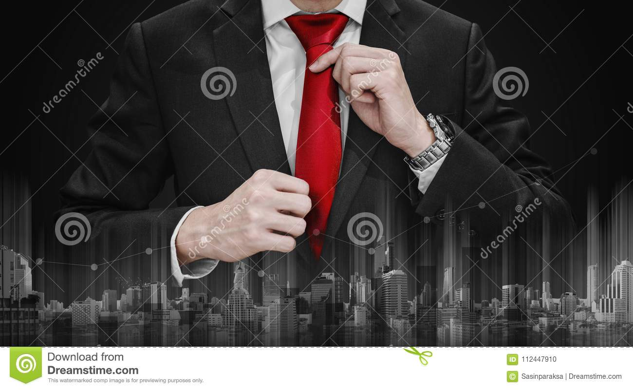 Businessman Tying Red Necktie And Raising Graph Diagram With Bow Tie Download Building Technology Business Growth