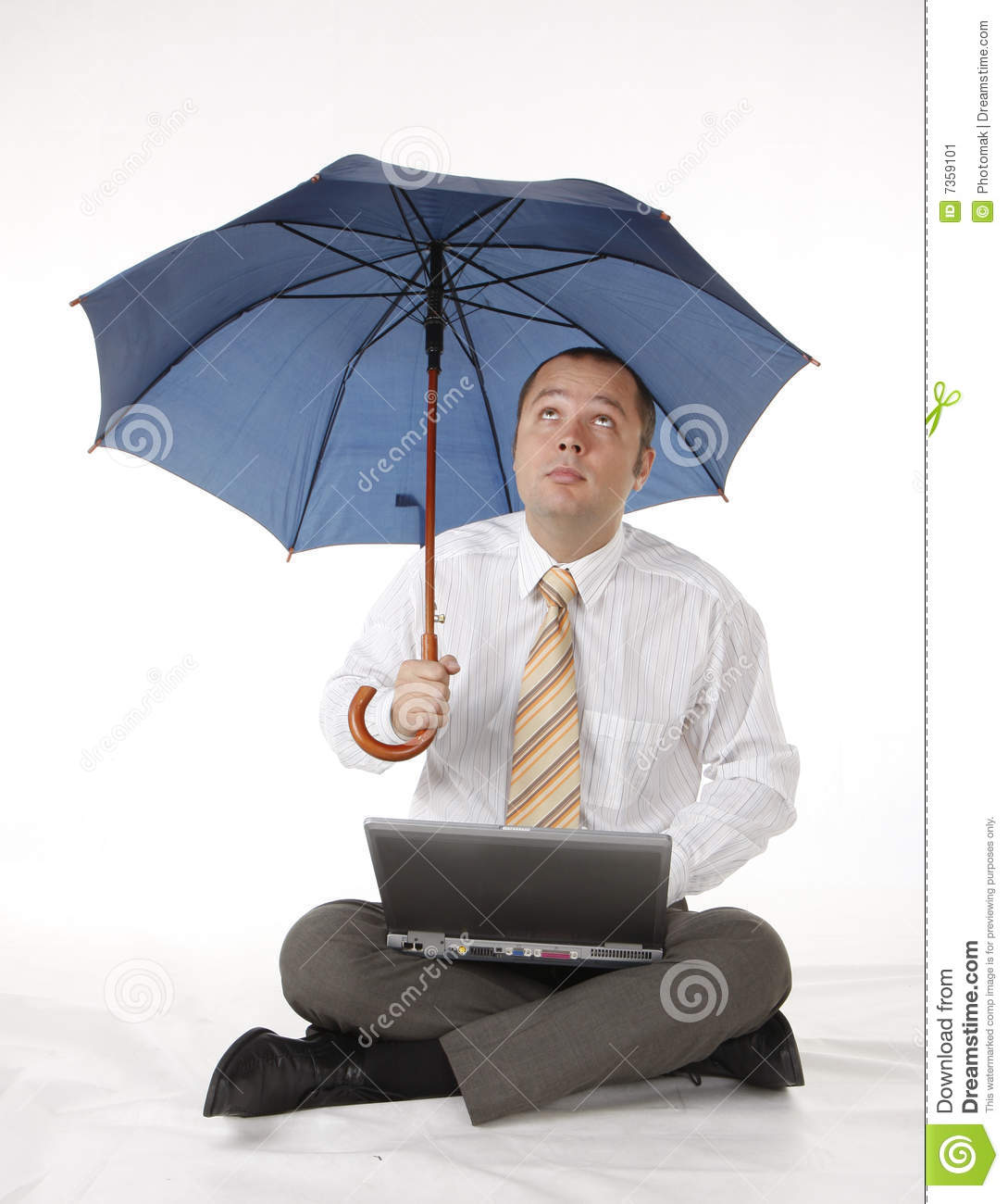 Businessman With Umbrella And Laptop Stock Image Image