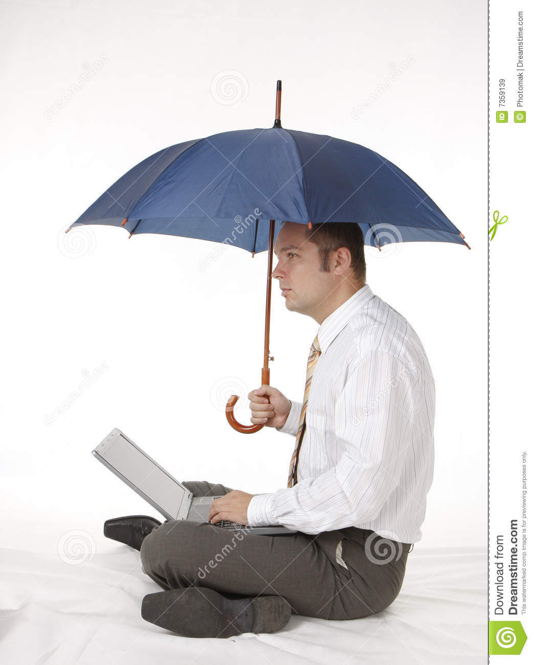 Businessman With Umbrella And Laptop Royalty Free Stock