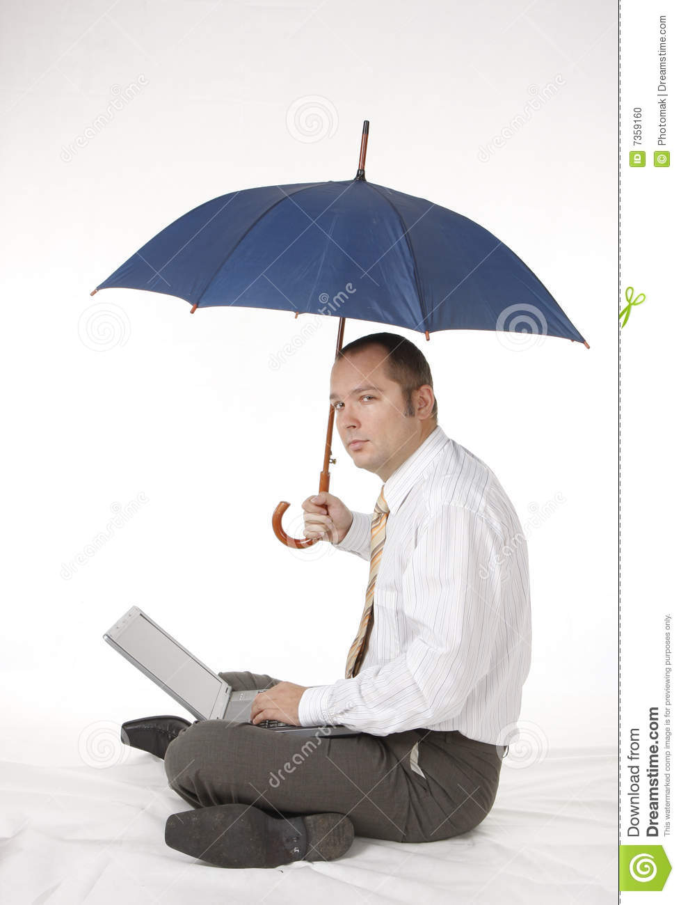 Businessman With Umbrella And Laptop Stock Photo Image