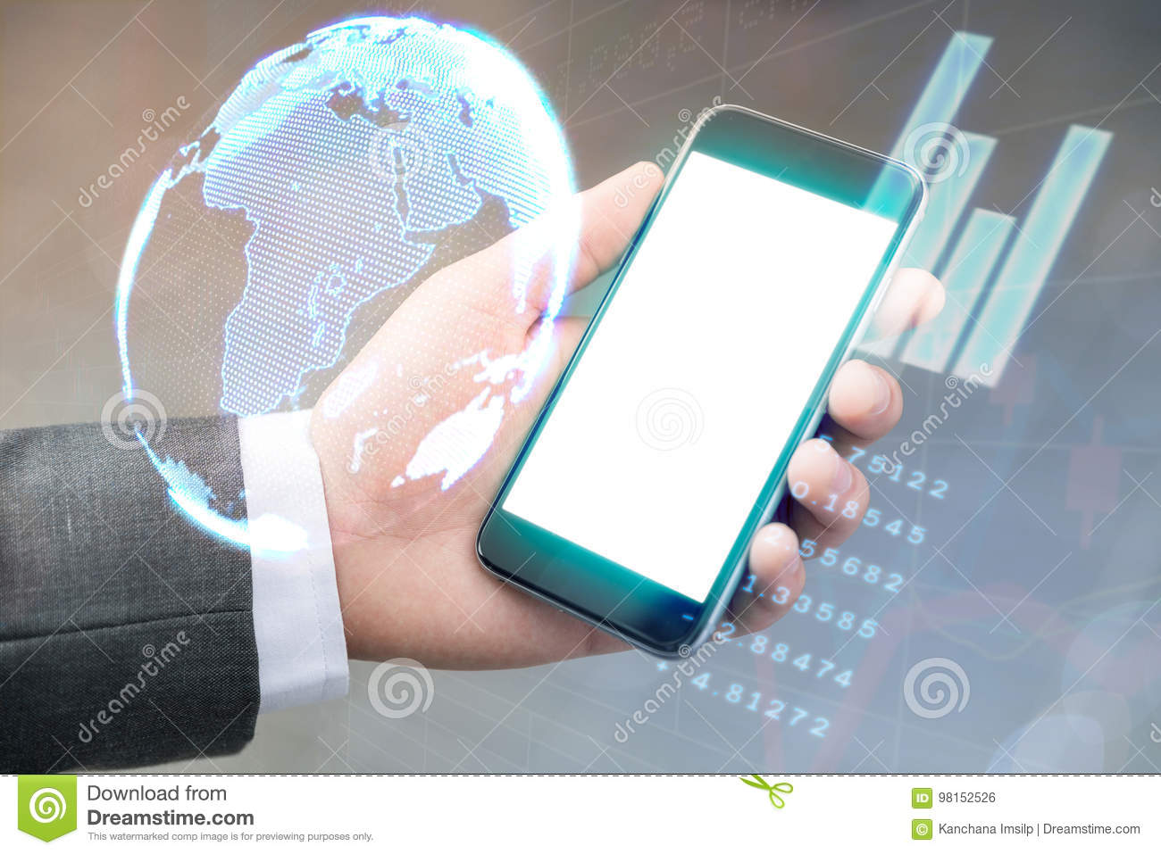 businessman use smartphone check income from stock exchange worldwide online format holographic on phone have statistics finance