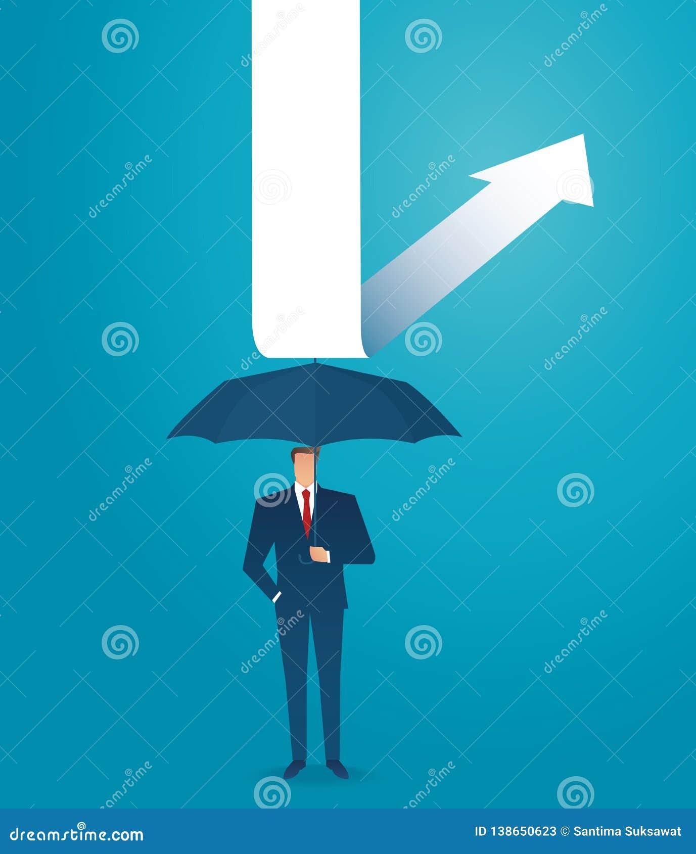 Businessman use umbrella to protecting arrow down vector illustration eps10