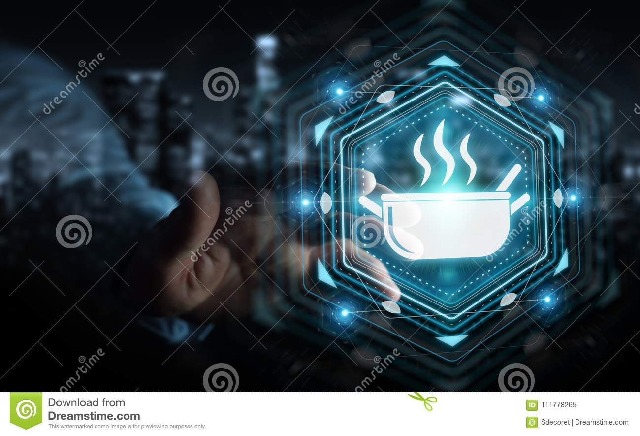Businessman using application to order home made food online 3D