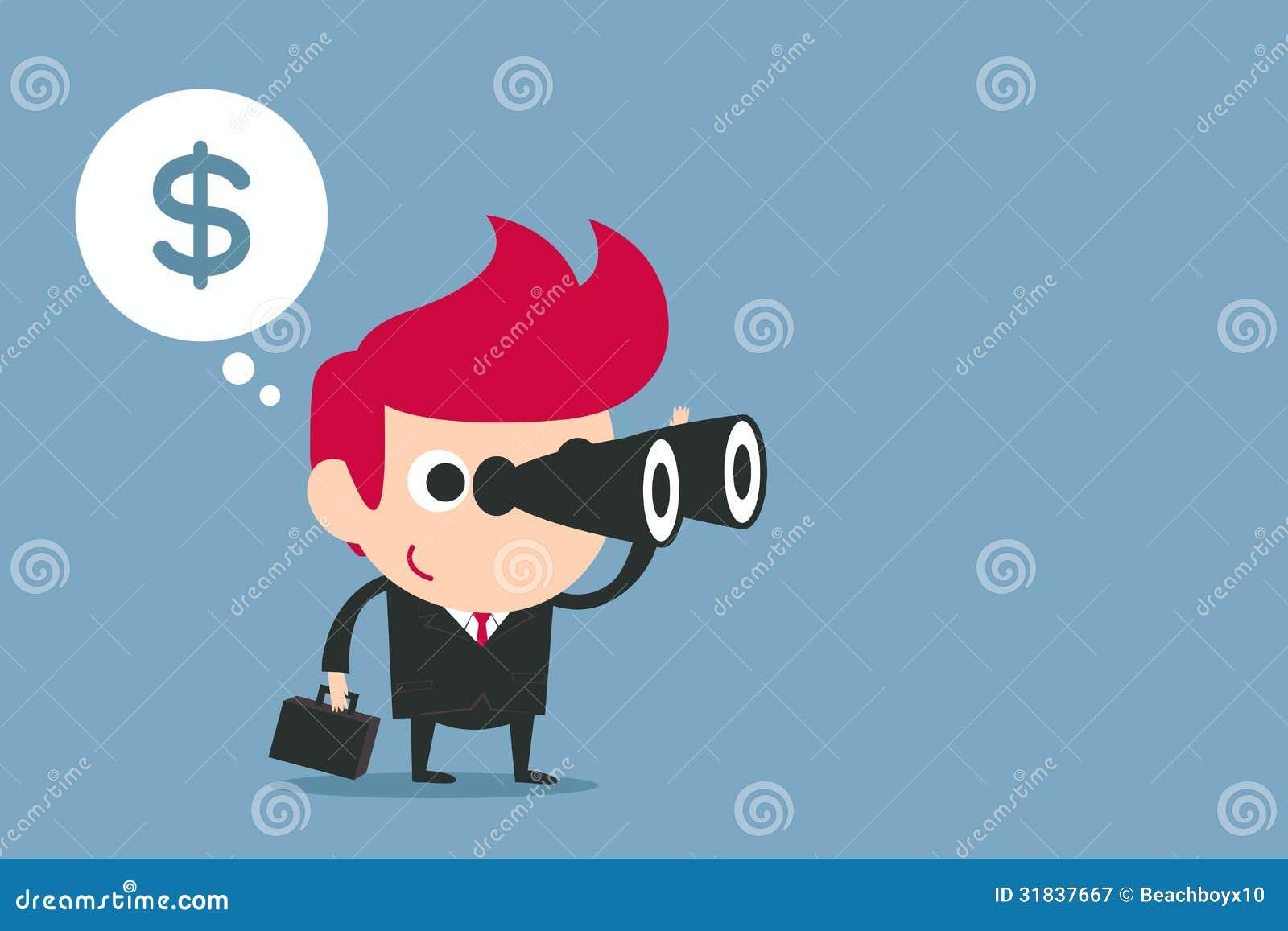 Businessman Using Binoculars Stock Illustration Image