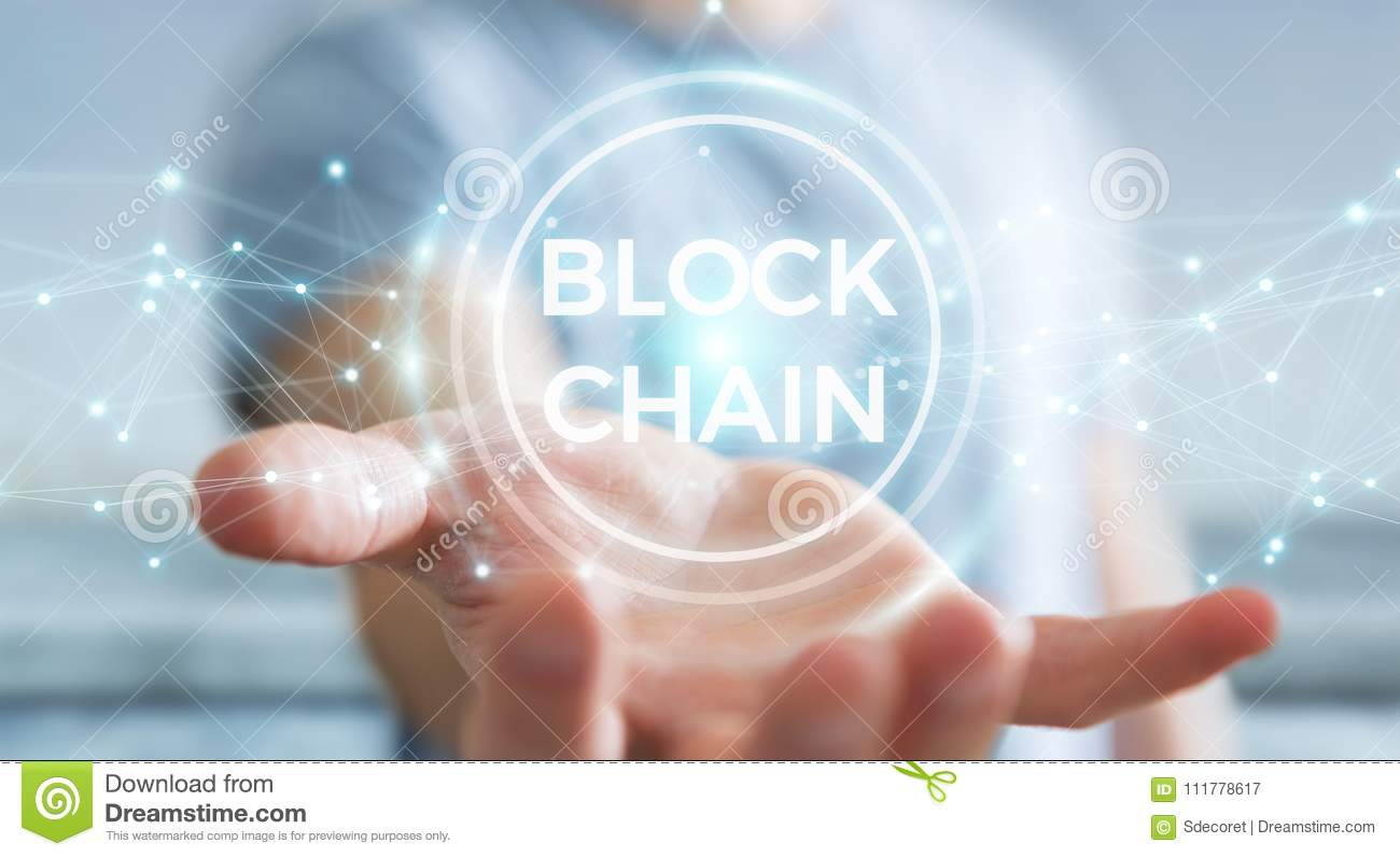 Businessman using blockchain cryptocurrency interface 3D rendering