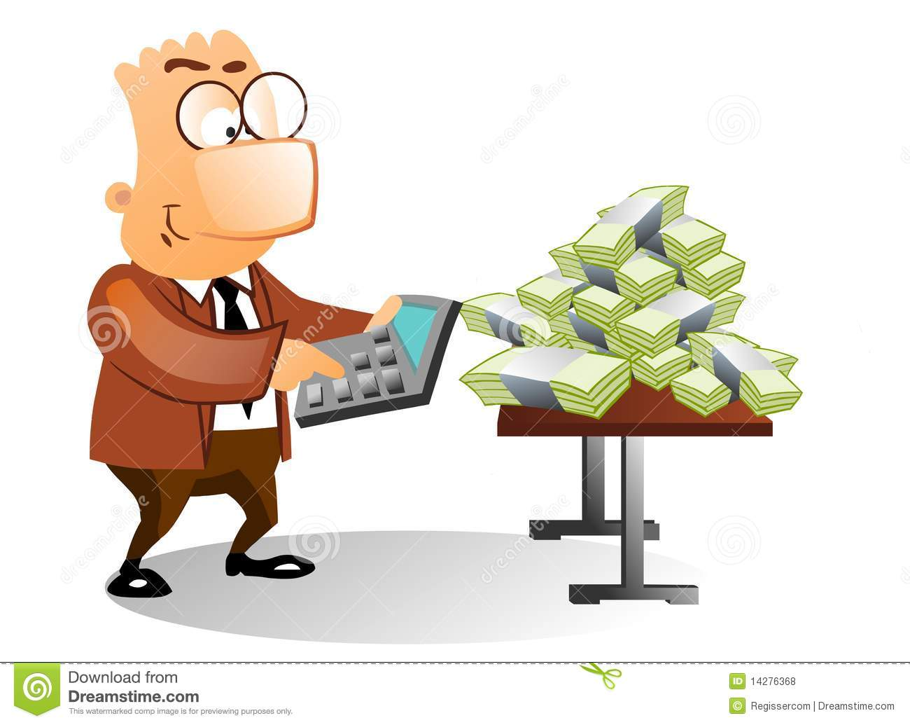Businessman Using Calculator To Count The Money Stock
