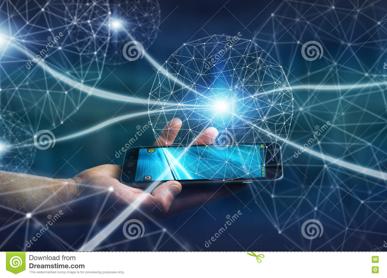Businessman using data network with his mobile phone