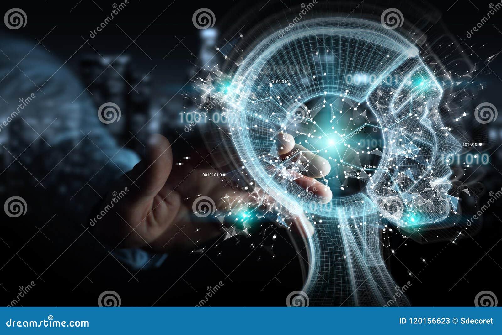 Businessman Using Digital Artificial Intelligence Interface
