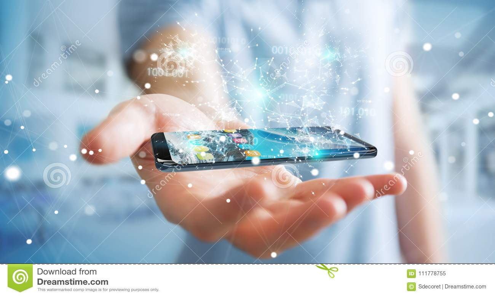 Businessman using digital binary code on mobile phone 3D rendering