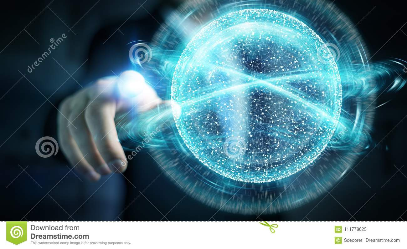 Businessman using digital network connection sphere 3D rendering