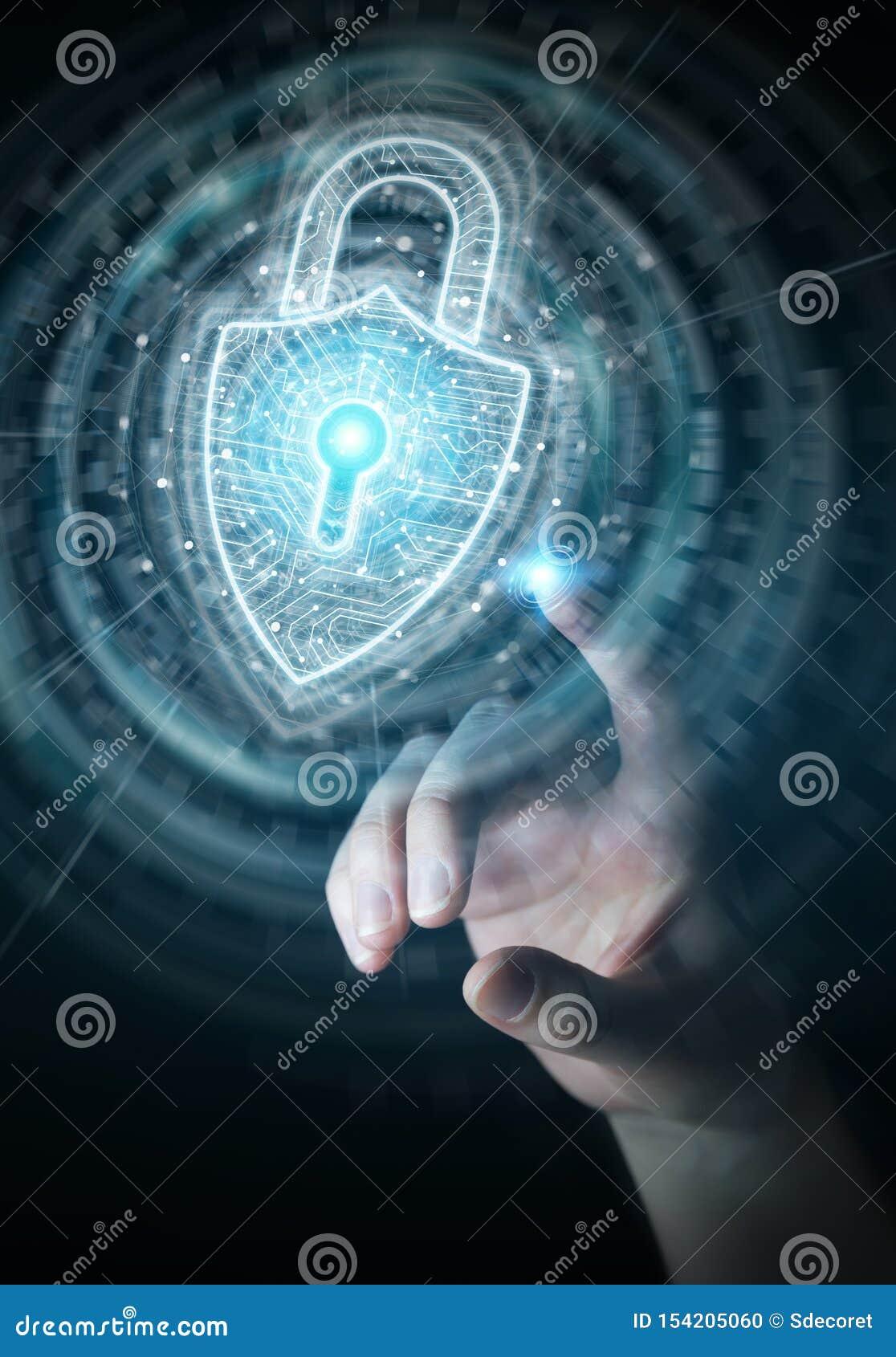 Businessman using digital padlock security interface to protect datas 3D rendering
