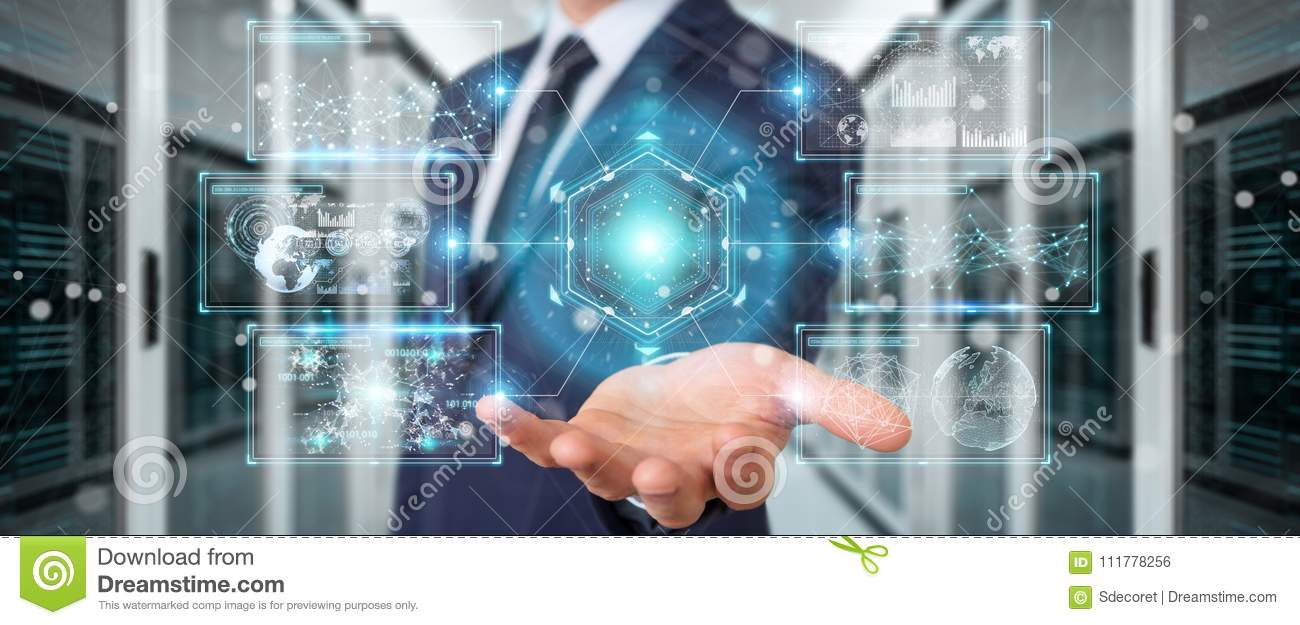 Businessman using digital screens interface with holograms datas 3D rendering