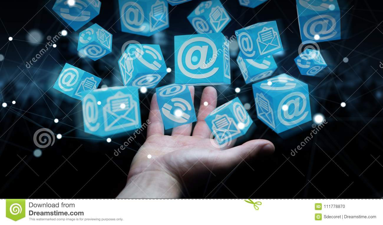 Businessman using floating cube contact 3D rendering