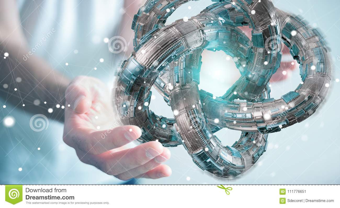 Businessman using futuristic torus textured object 3D rendering