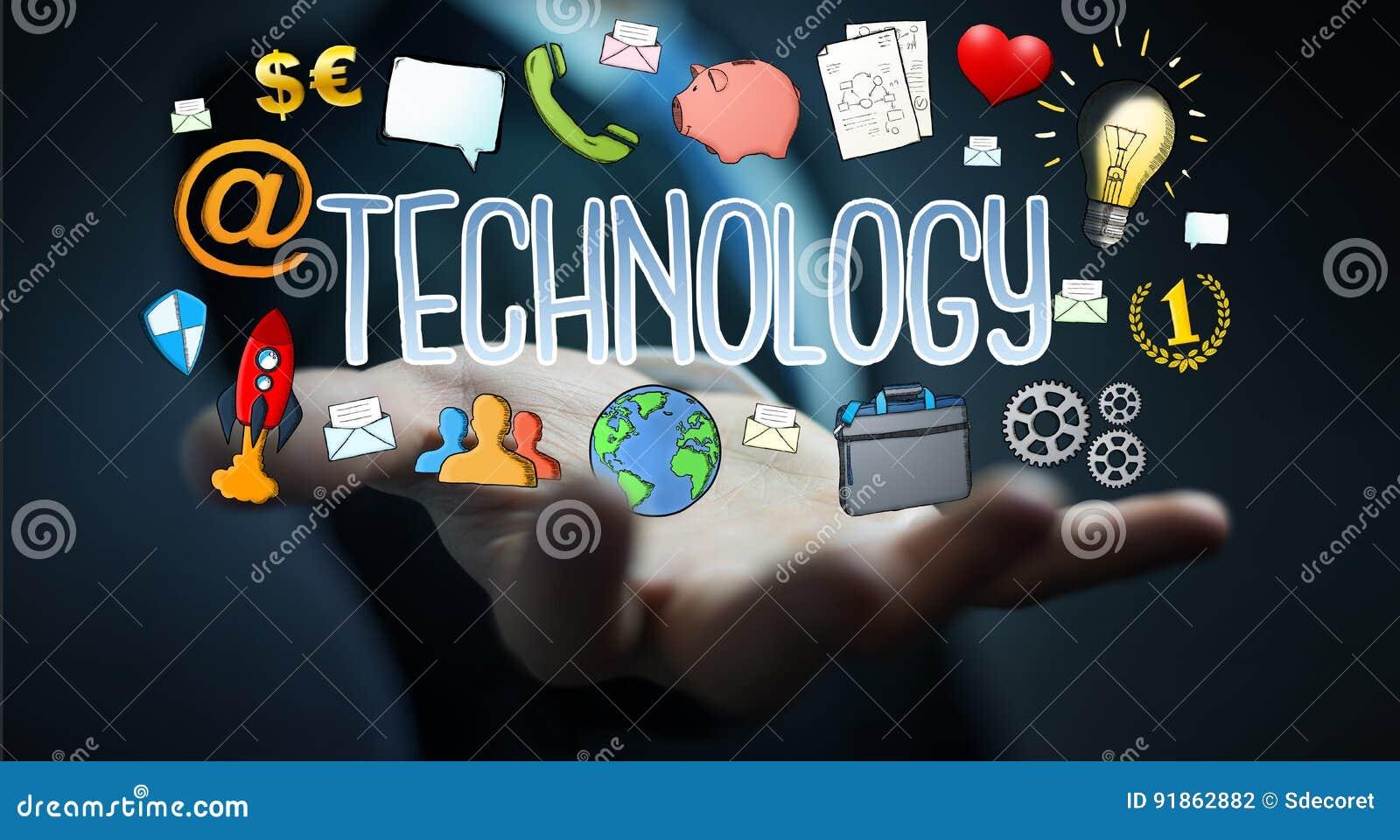 Businessman Using Hand-drawn Multimedia Technology ...