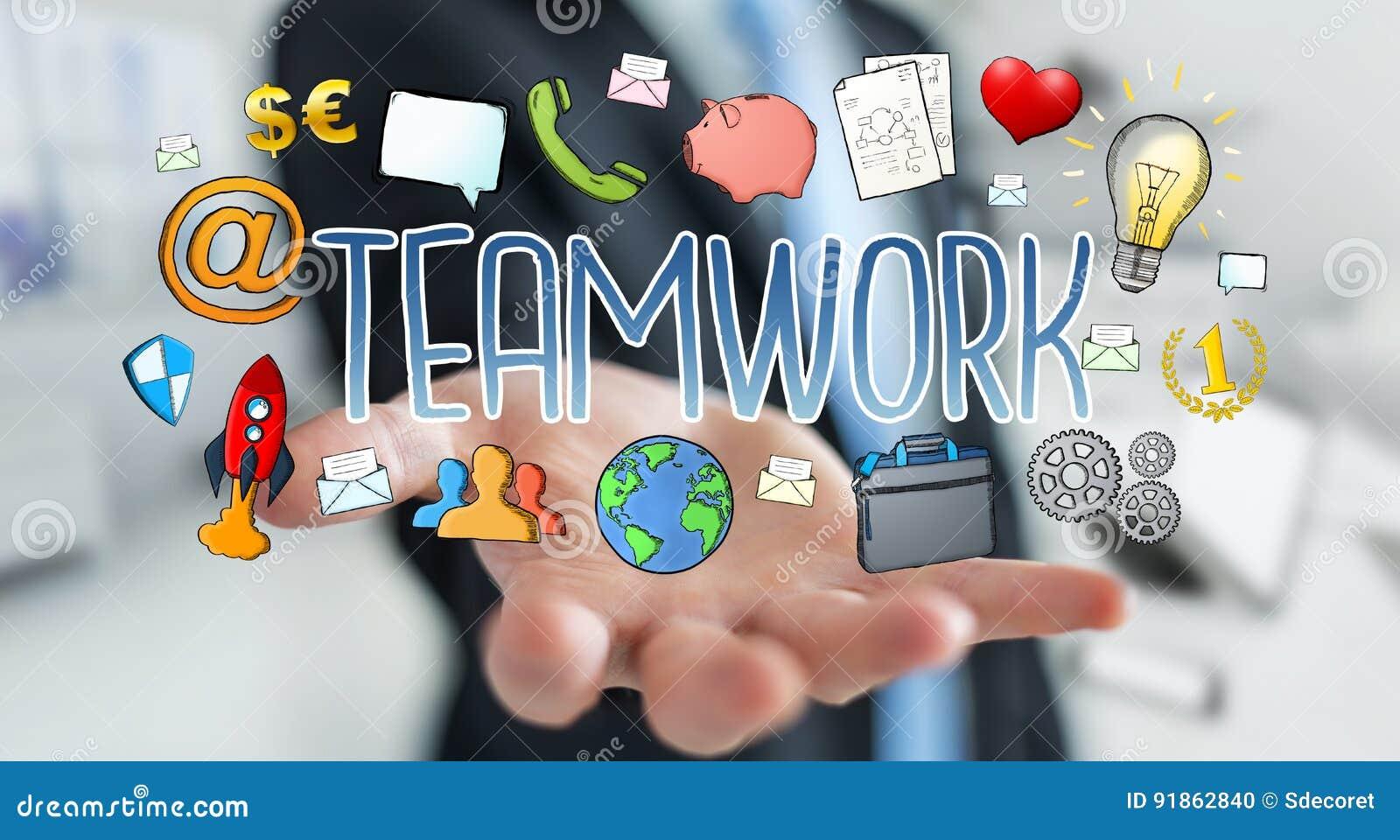 businessman using hand drawn teamwork presentation stock
