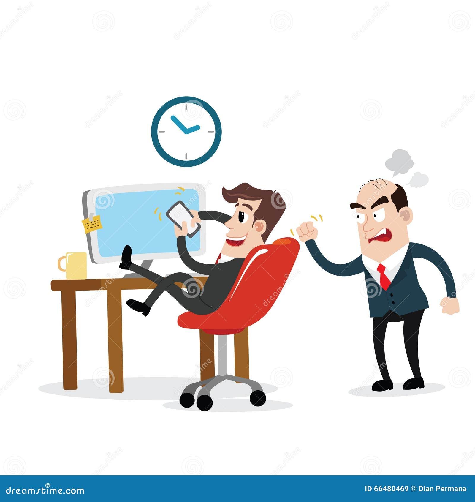 businessman using mobile phone at work stock vector illustration