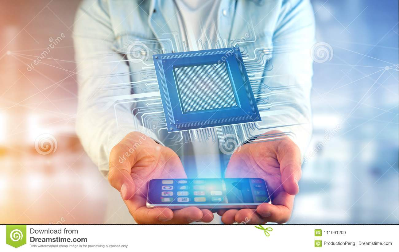 Businessman using a smartphone with a Processor chip and network