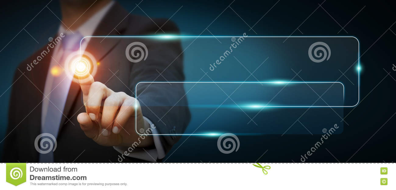 Businessman using tactile interface web address bar to surf on i