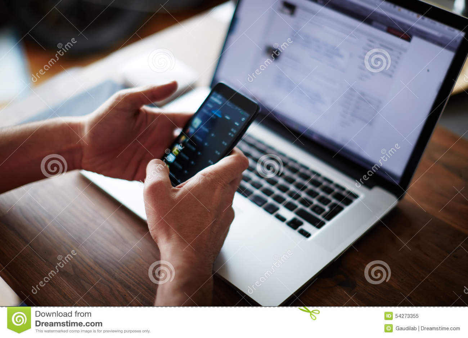 Technology Management Image: Businessman Using Technology Sitting At Modern Loft Wooden