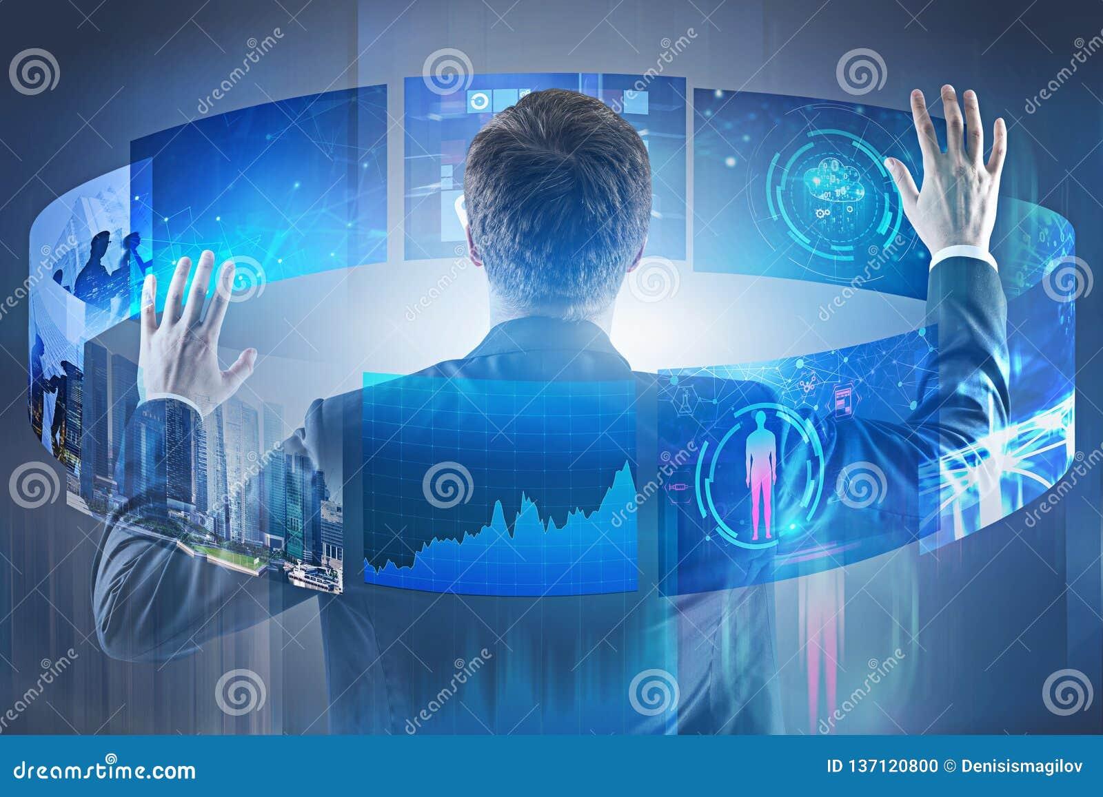 Businessman using telecommunication interface