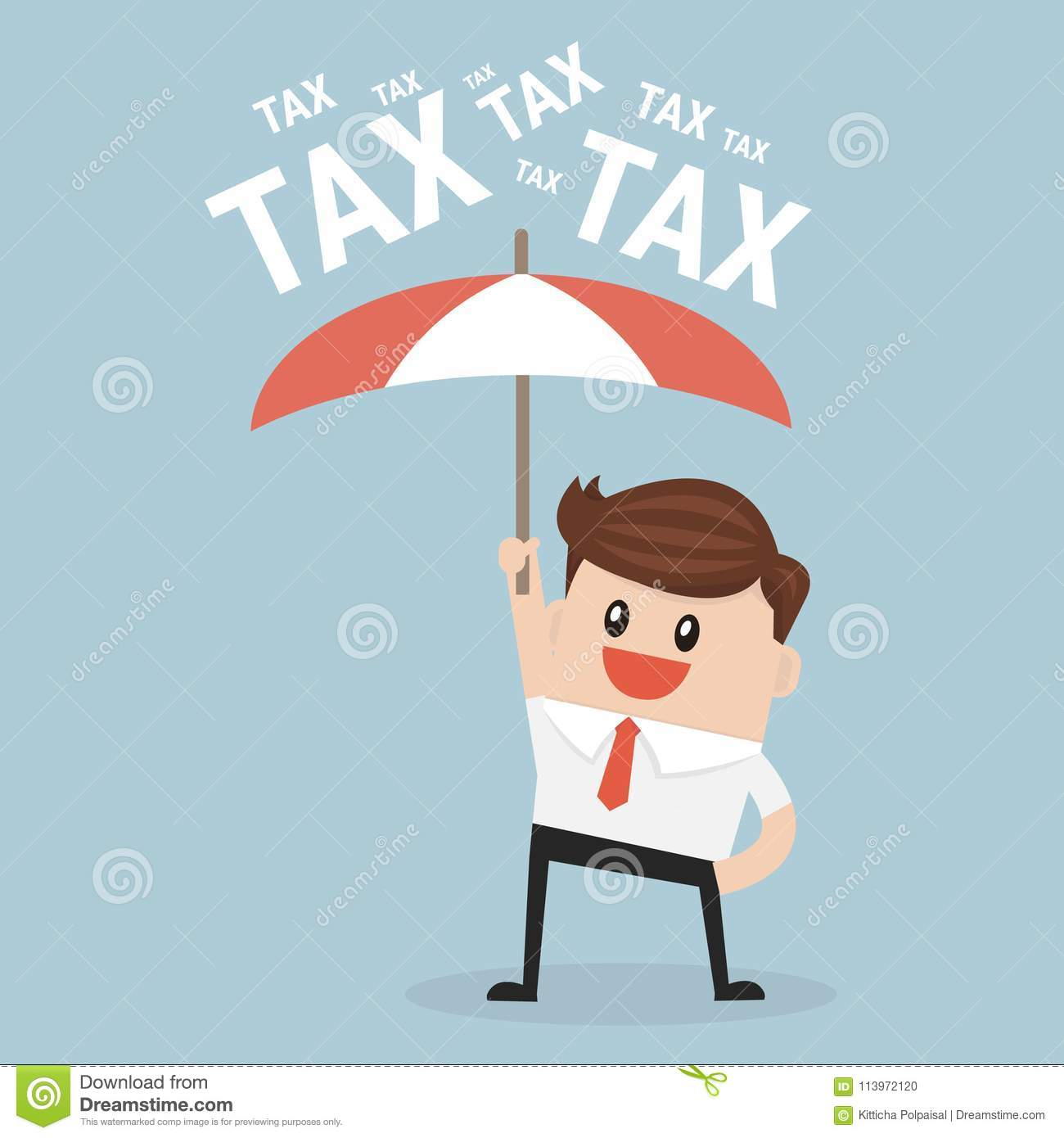 Businessman using umbrella for protecting him from tax.