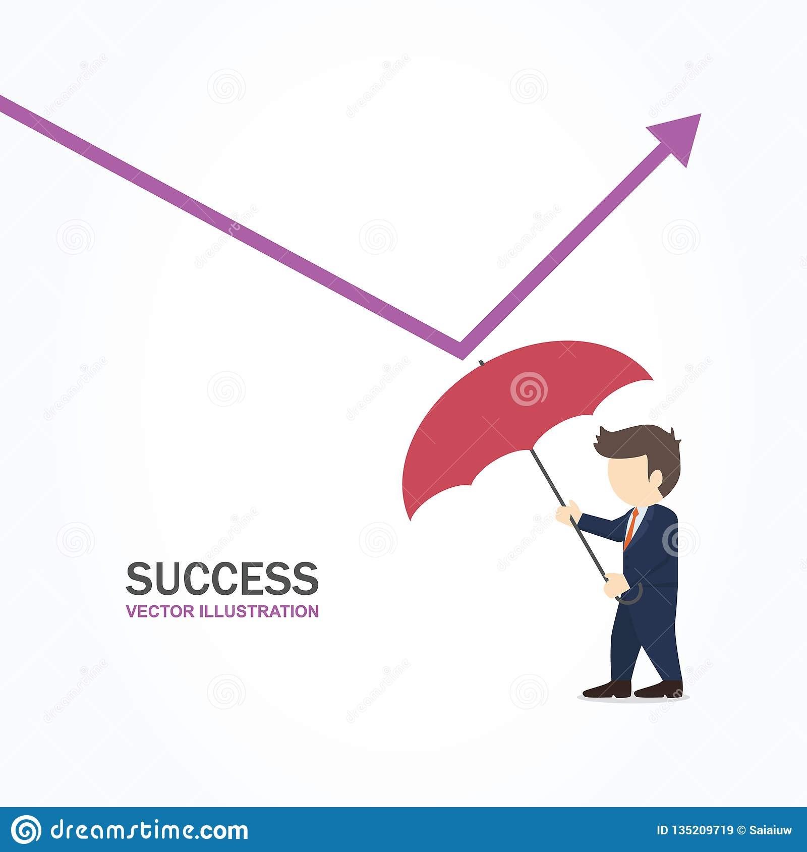 Businessman using umbrella to reflect low graph. Success concept.