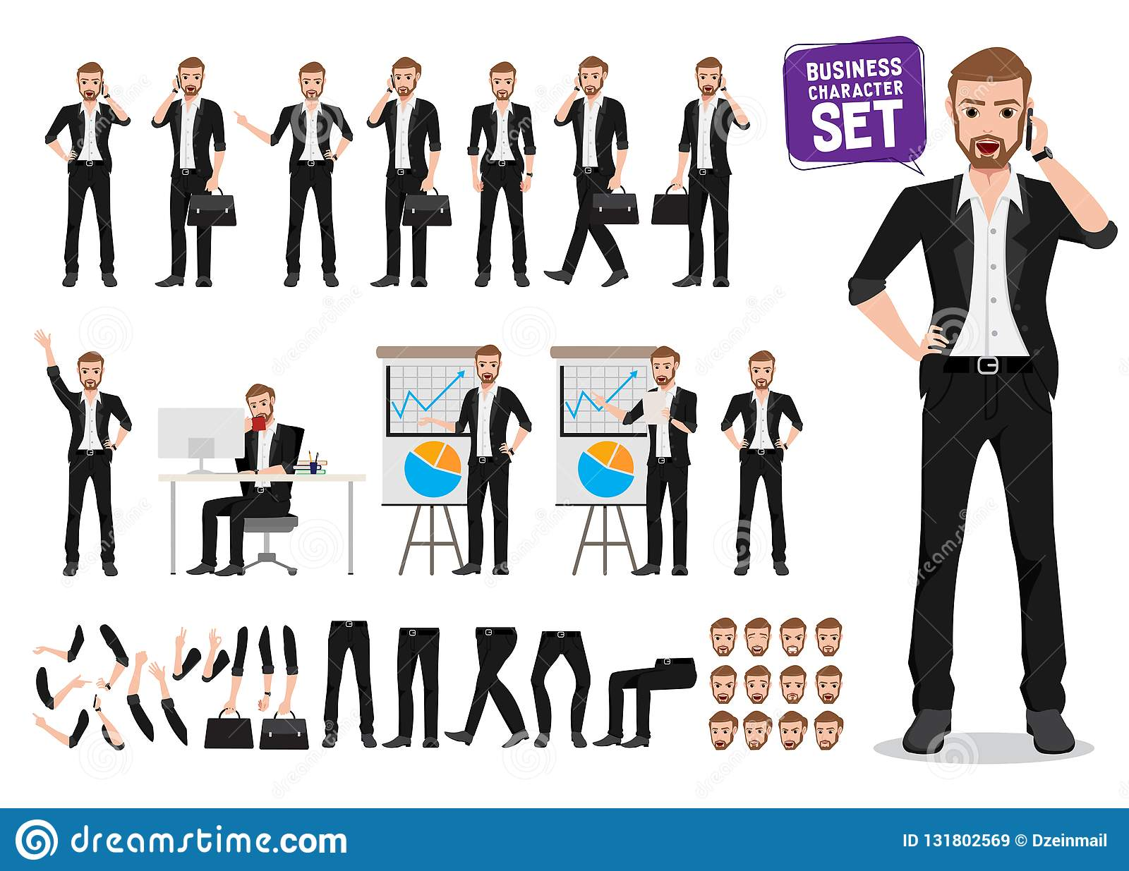 Businessman vector character set. Male business person cartoon character creation