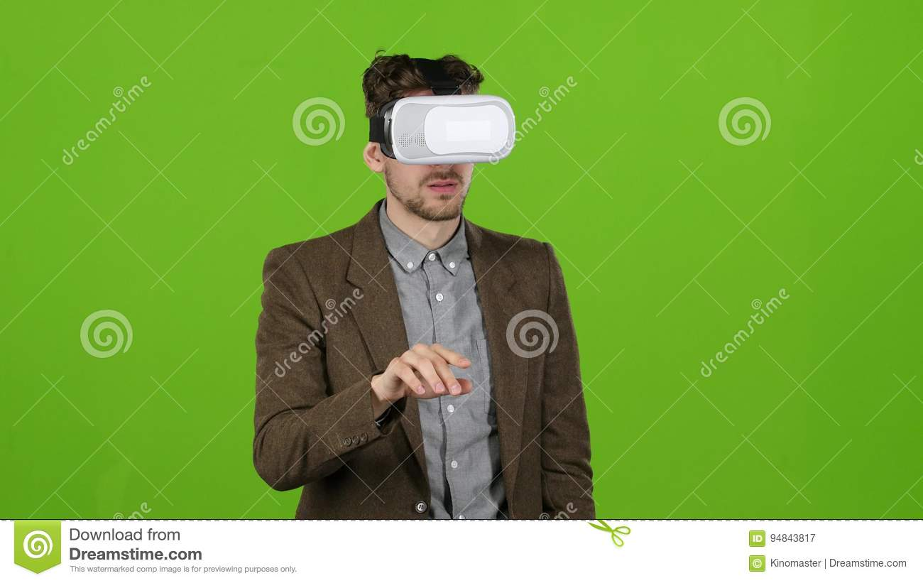 Businessman With Virtual Glasses Looks Funny Video Laughs