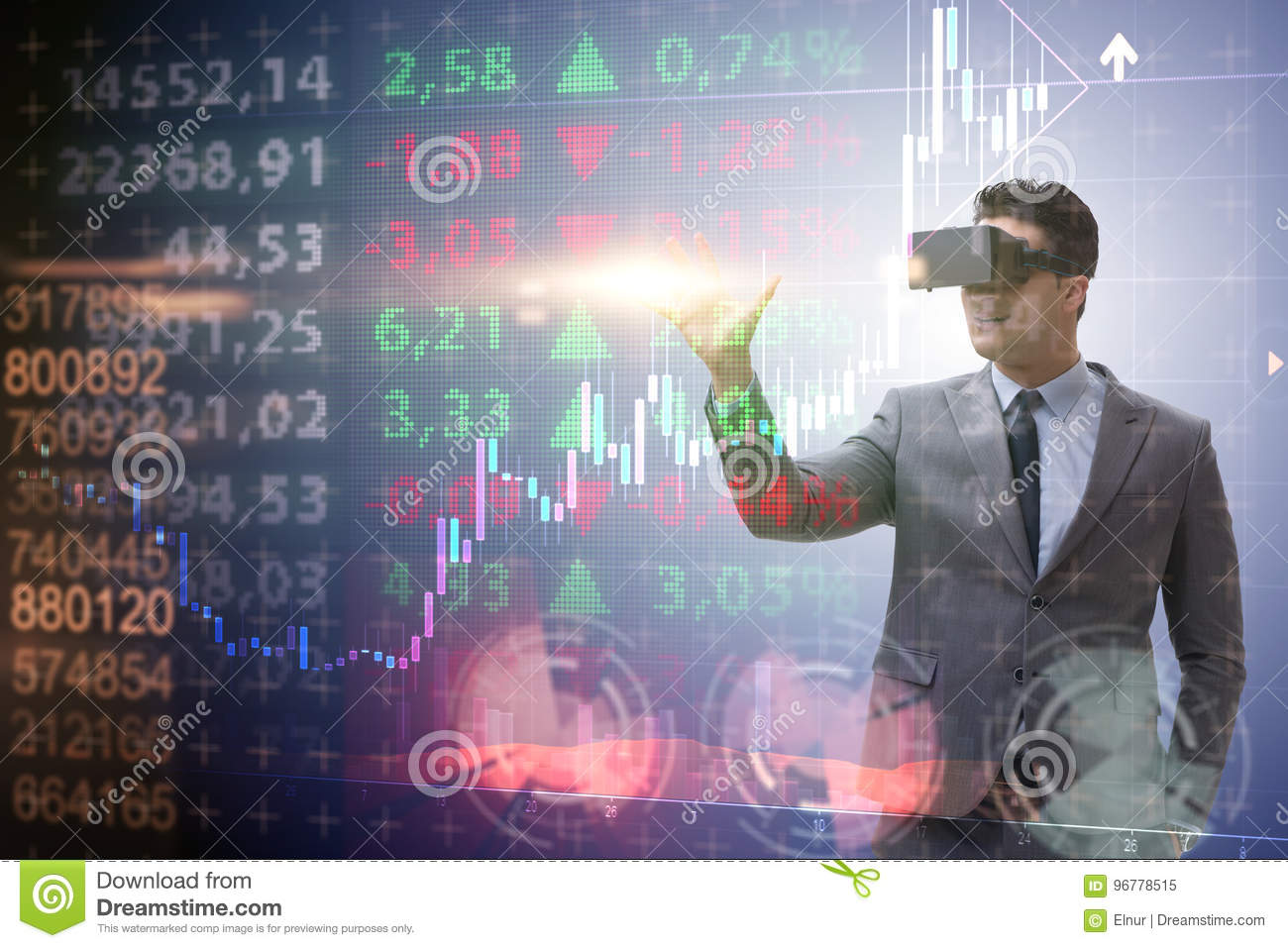 The businessman in virtual reality trading on stock market