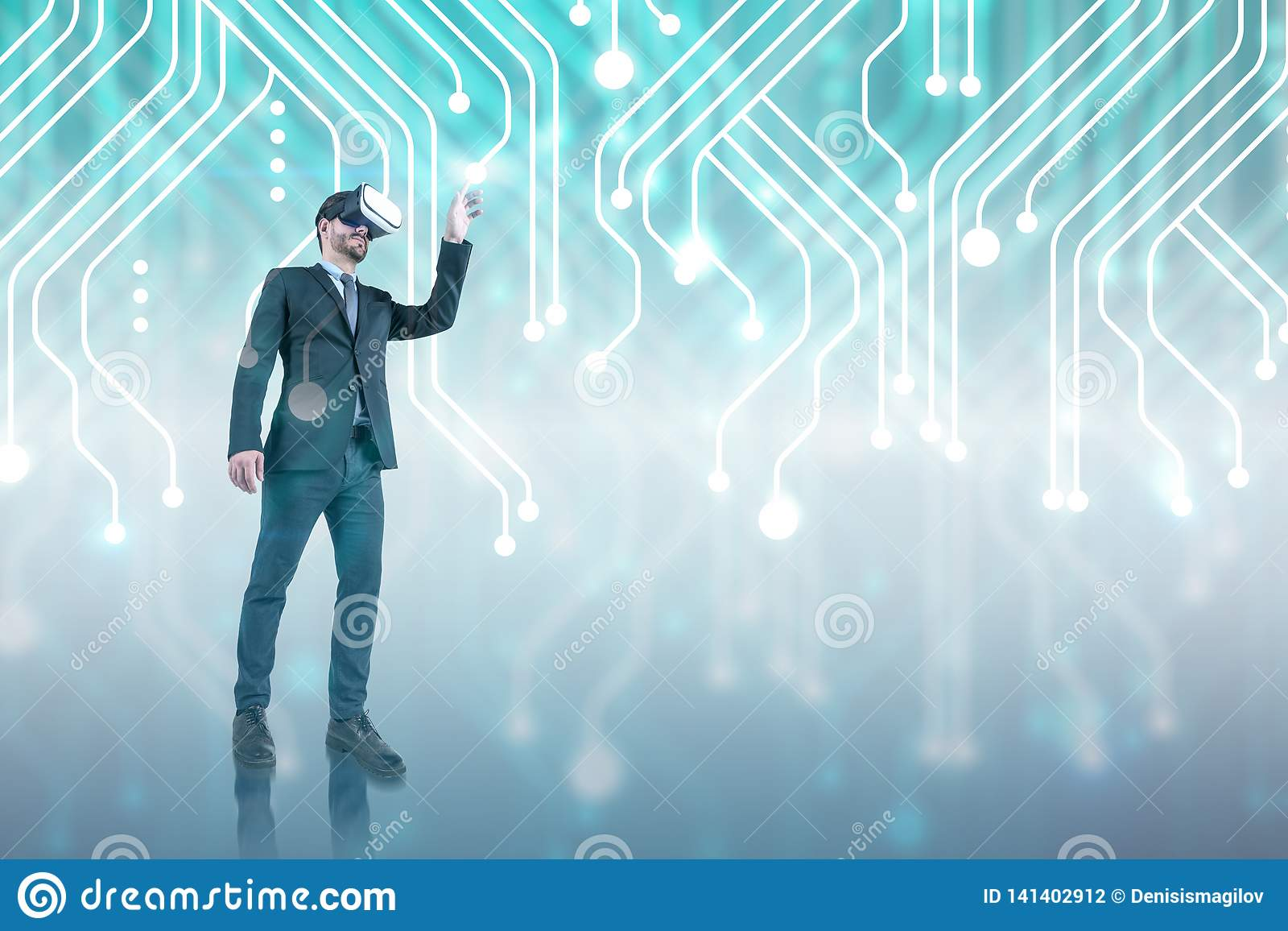 Businessman in VR glasses, circuit interface