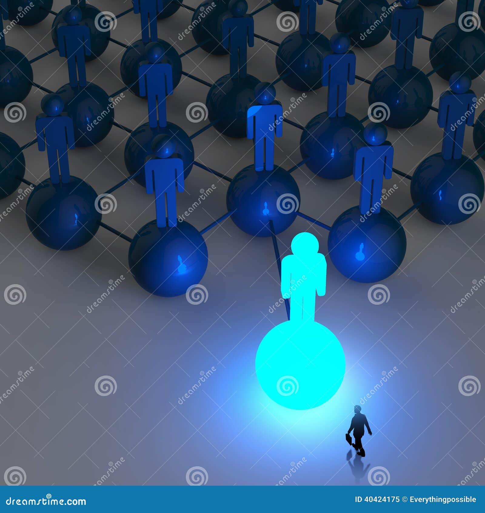 Businessman walking 3d light growing