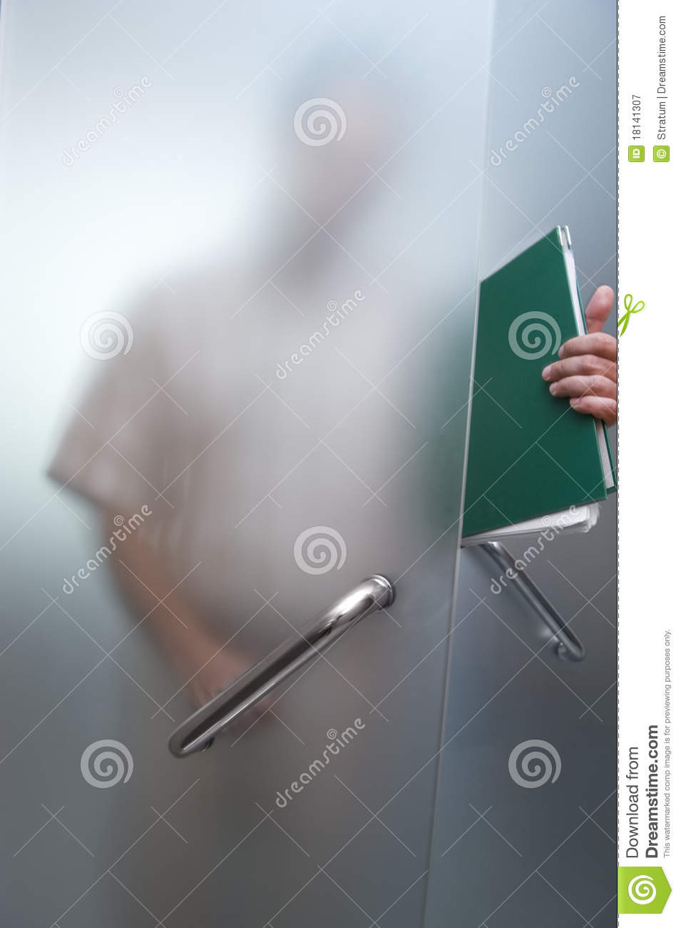 Businessman Walking Through The Glass Door Stock Image Image Of