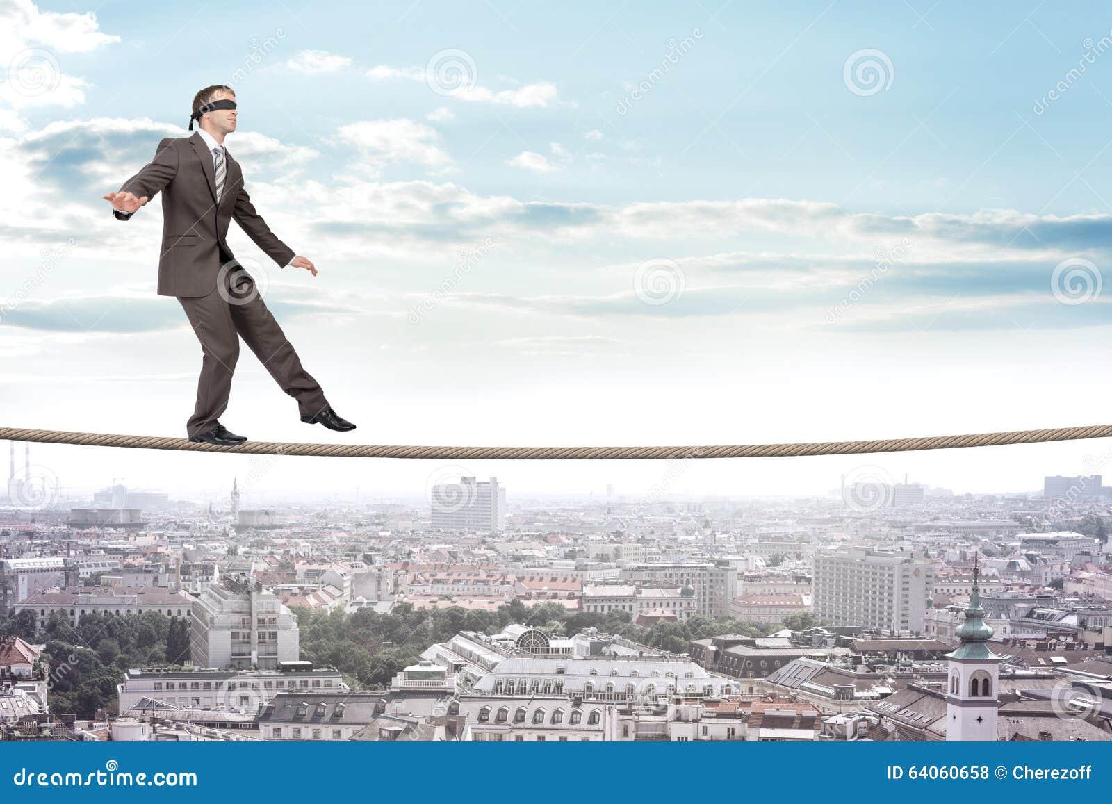 Businessman Walking On Rope Stock Photo Image 64060658